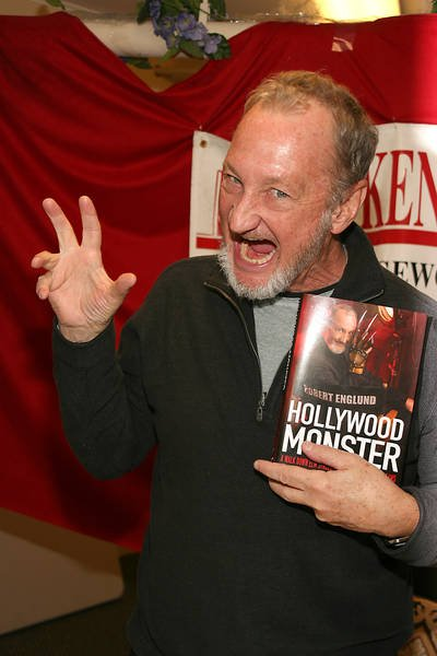 Robert showing off his 2009 memoir, Hollywood Monster.