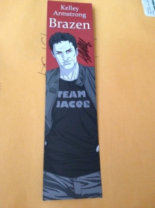 Nick wearing a team Jacob t-shirt! Such a funny bookmark.