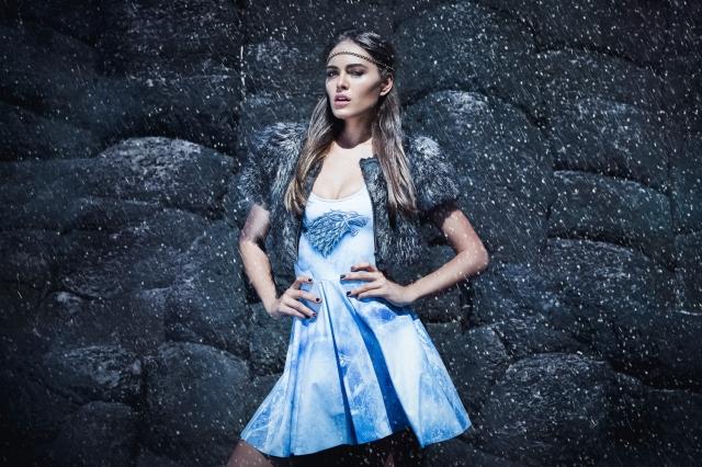 Model wearing the Stark Skater dress from the Game of Thrones line.